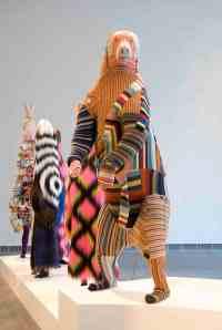 Polar Bear, 2009 Foam taxidermy models,appliquéd found knitted and crocheted fabric 96h x 30w x 45d in. Photo: Ira Schrank